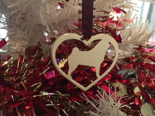 Pug in your heart christmas tree decoration  brass copper or aluminium